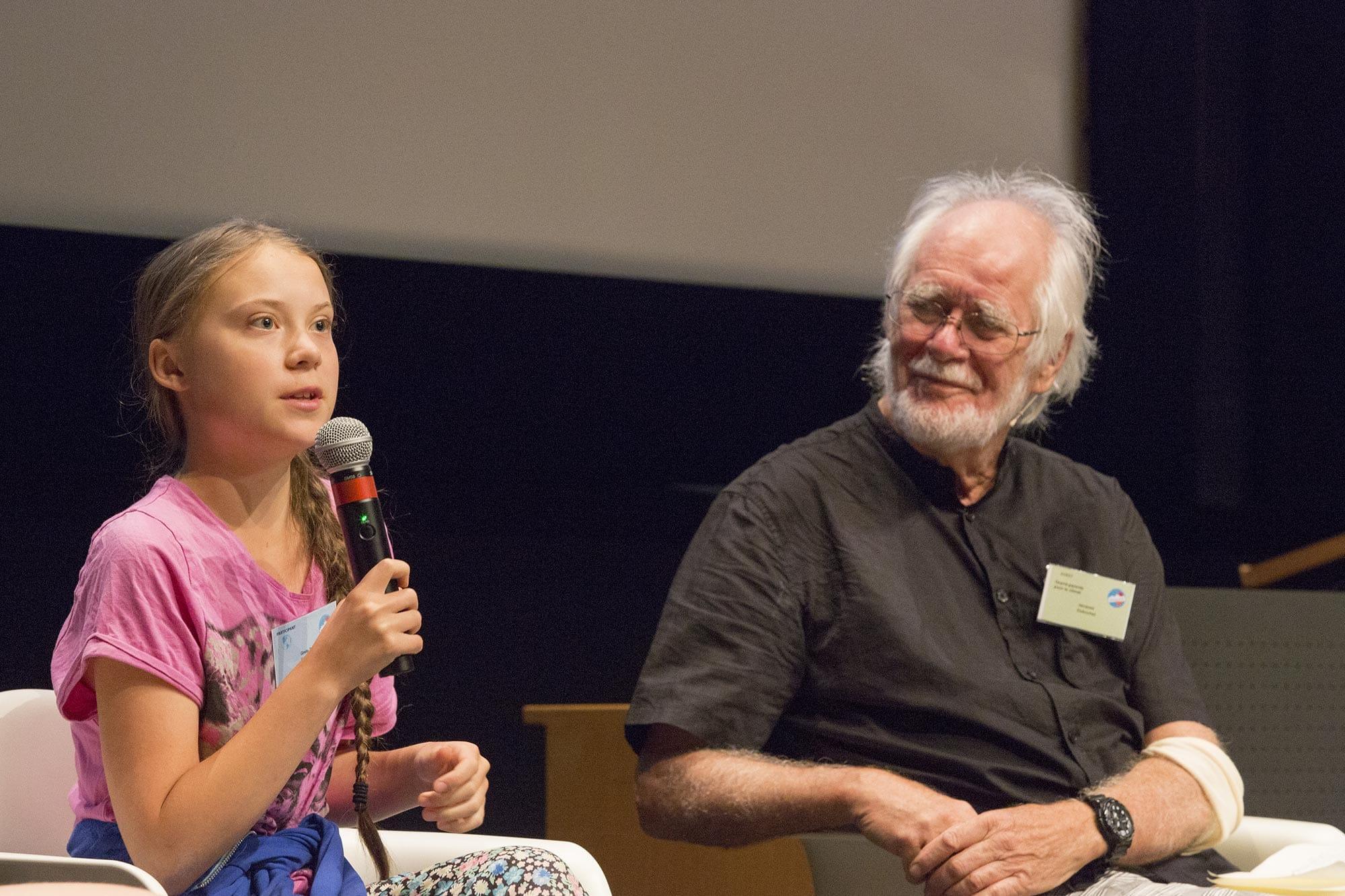 Greta Thunberg avec Jacques Dubochet