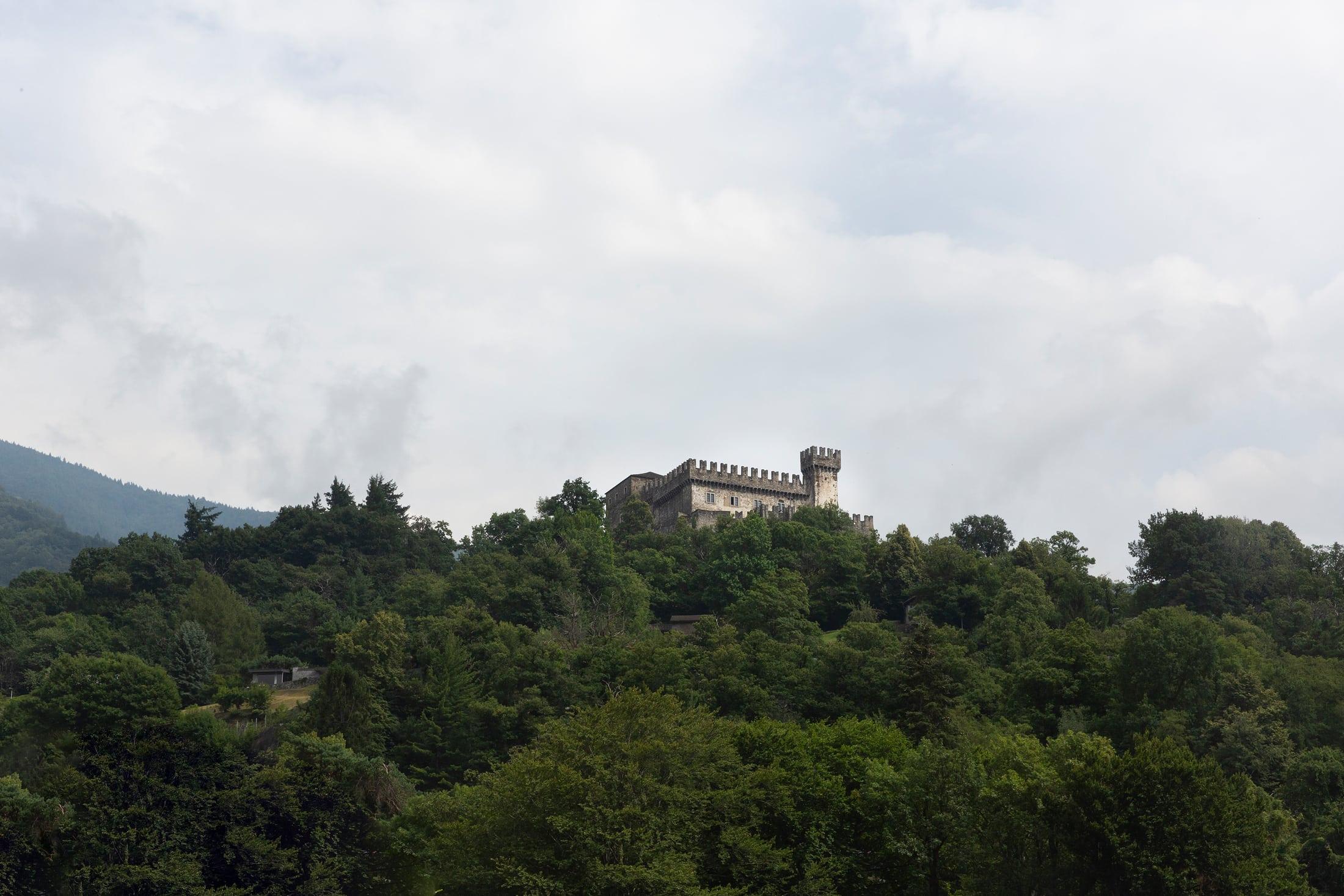 château à Bellinzone à l'arrière d'une forêt